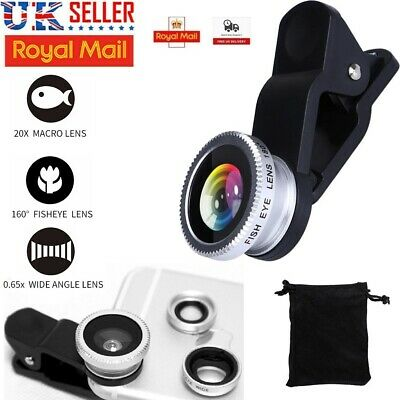 £2.98 • Buy 3 In 1 Wide Angle Fisheye Macro Clip On Camera Lens Kit For IPhone SAMSUNG HTC