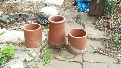3 Clay Old Chimney Pots Various Sizes • 15£
