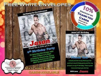 10 X Personalised WWE Wrestling Birthday Party Invites With Envelopes 07 • 4£