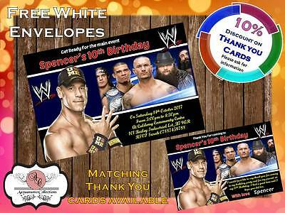 10 X Personalised WWE Wrestling Birthday Party Invites With Envelopes 01 • 4£