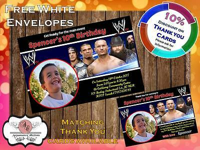 10 X Personalised WWE Wrestling Birthday Party Invites With Envelopes 11 • 4£