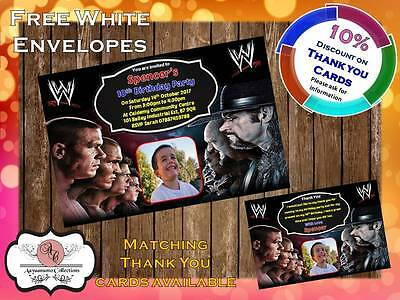 10 X Personalised WWE Wrestling Birthday Party Invites With Envelopes 13 • 4£