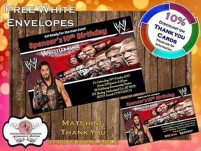 10 X Personalised WWE Wrestling Birthday Party Invites With Envelopes 06 • 4£