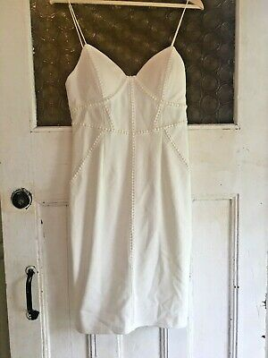 AU25 • Buy NEW PARTY Size 12 Off White Bodycon Wedding Formal Fitted Dress Strappy ANGEL