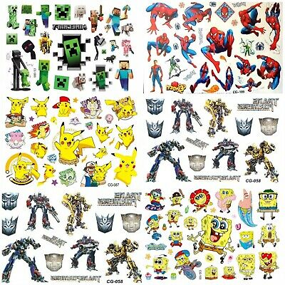 Temporary Tattoo Sheets Stickers Children Kids Birthday Party Bag Filler • 2.19£