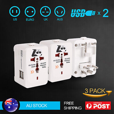 AU19.99 • Buy 3X Travel Adapter Universal 2 USB International Charger Converter Plug All In 1