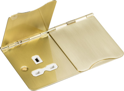 Knightsbridge 2G Floor Socket 13A Unswitched Flat Plate Br/Brass & White Insert • 18.08£