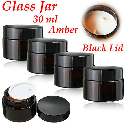 30ml Amber Glass Jar Bottles Cream Ointment Black Lid Cosmetics Candles   J ︿ • 14.68£