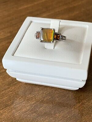 £30 • Buy AA Ammolite & Maderia Citrine Platinum Overlay Sterling Silver Ring Size L1/2