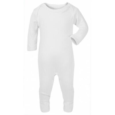 Sleepsuit Romper Suit Long Sleeve For Boy Girl Baby Toddler Plain Soft Cotton • 7.95£