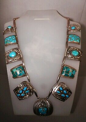 $ CDN831 • Buy Old Navajo Begay Silver & Turquoise Tab Squash Blossom Necklace