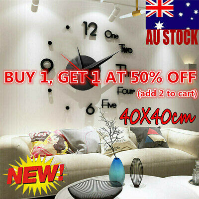 AU16.90 • Buy Large Wall Clock Big Watch Decal 3D Stickers Roman Numerals DIY Wall Modern Home