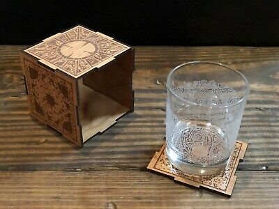 Hellraiser Cube Puzzle Box Handmade Laser Engraved Wood Coaster Set Prop Replica • 30.11£