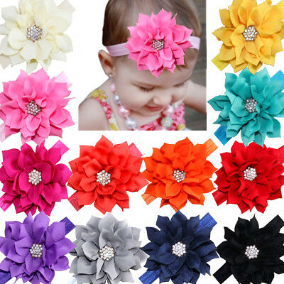 $10.99 • Buy 12Lot Baby Headbands Flower Hairbands Hair Bows With Rhinestones For Baby Girls