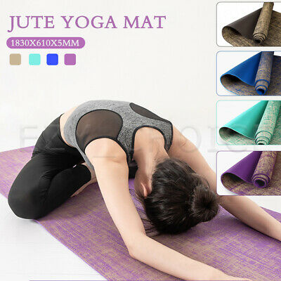 AU35.99 • Buy Premium Natural Linen Jute Yoga Mat Pad Nonslip Exercise Fitness Pilate Gym Mats