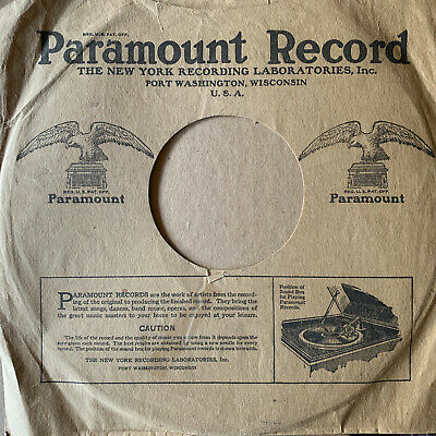$24.99 • Buy PARAMOUNT RECORD Orig 1920s Pre-war 10  78rpm Jazz/BLUES/Vocal COMPANY SLEEVE