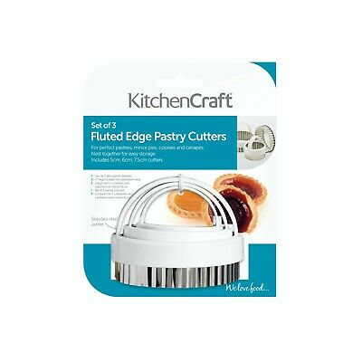 £3.99 • Buy KITCHEN CRAFT SET OF 3 FLUTED PASTRY COOKIE CUTTERS 5cm 6cm 7.5cm S/steel