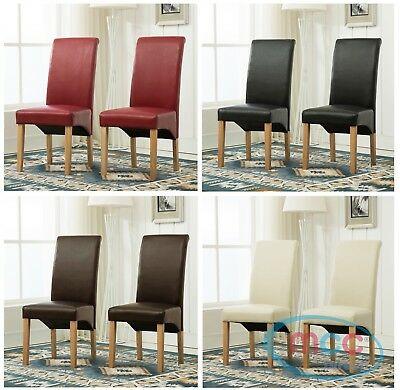 £79.99 • Buy Set Of 2 Faux Leather Dining Chairs Roll Top Scroll High Back Home Restaurants