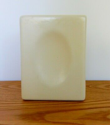 $30 • Buy Vtg MCM Geometric Cream Color Haeger Vase Planter Rectangle W/ Concave Oval