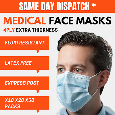 AU19.99 • Buy THICK 4PLY GENUINE SURGICAL FACE MASK Anti Flu Dentist Disposable Medical Masks