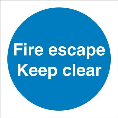 Fire Escape Keep Clear Sign - Self Adhesive Vinyl - 100mm X 100mm • 6.99£