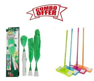 GO DUSTER Electric Green Dust Cleaning Brush & Wet And Dry Floor Cleaner Mop • 18.50£