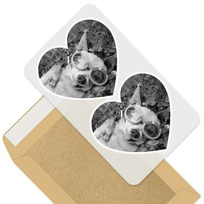2 X Heart Stickers 10 Cm - BW - Cool Chihuahua Funny Dog Pet  #39511 • 1.99£