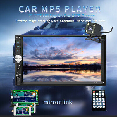$59.35 • Buy 7  Double 2DIN Car MP5 Player Bluetooth Touch Screen Stereo Radio USB AUX Camera