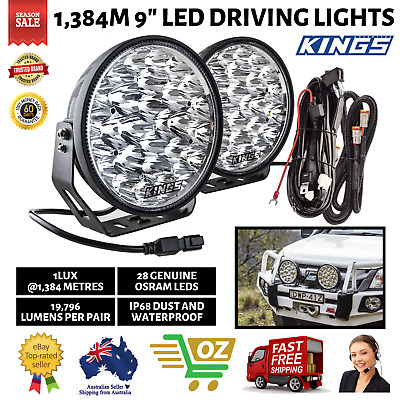 AU196.10 • Buy Kings Xtreme 9  LED Driving Lights Offroad Spot Flood Lamp 1 Lux 1,384m Pair