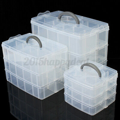 M L XL Jewellery Compartment Box Tool Case Clear Storage Organiser Craft Bead UK • 7.99£