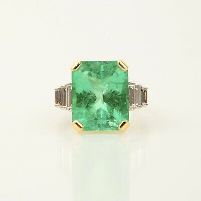 18ct White & Yellow Gold Diamond & Colombian Emerald Ring 11ct • 25,750£