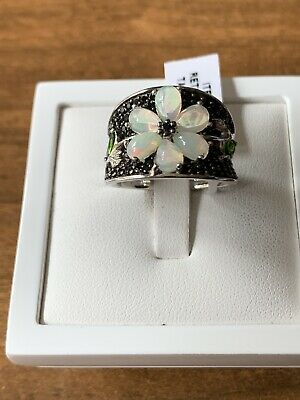 £45 • Buy Welo Opal & Black Spinel Boi Ploi Russian Diopside Ring Size P