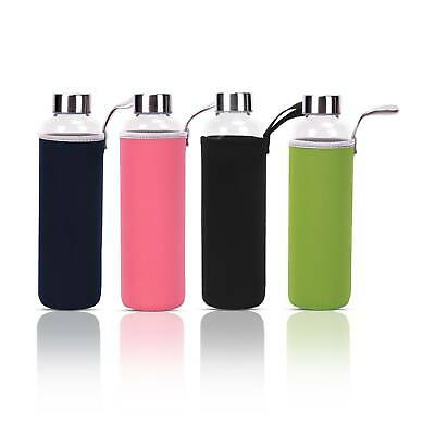 Sports Gym Recyclable Glass Water Drinking Bottle Protection Sleeve BPA Free • 5.19£