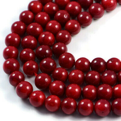 £12.50 • Buy Semi-Precious Red Coral 8mm Round Gemstone Jewellery Making Beads On 15.5 Inc...