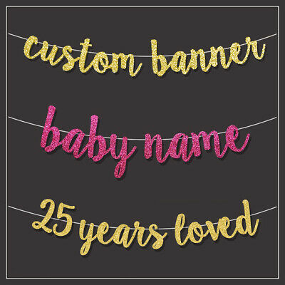 Personalised Customised GLITTER GOLD Calligraphy BANNER Wedding Party Birthday • 3.99£