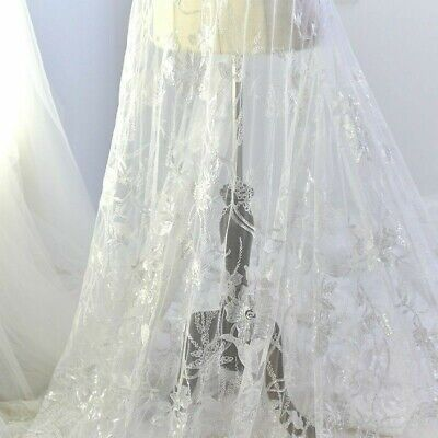 £16.53 • Buy French Chantilly Lace Fabric Embroidered Floral Sequin Wedding Bridal Dress DIY