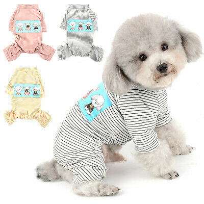 Striped Small Dog Cat Pajamas Pjs Cotton Print Puppy Jumpsuit Chihuahua Clothes • 5.82£