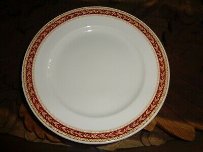 Sampson Bridgwood Lifelong Ironstone England Dinner Plate Red & Gold Pattern Rim • 10.99£
