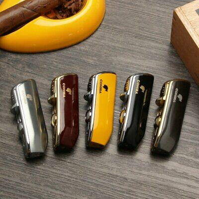 COHIBA Windproof Mini Cigar Lighter 3 Jet Flame Torch With Cigar Punch Metal • 16.99£