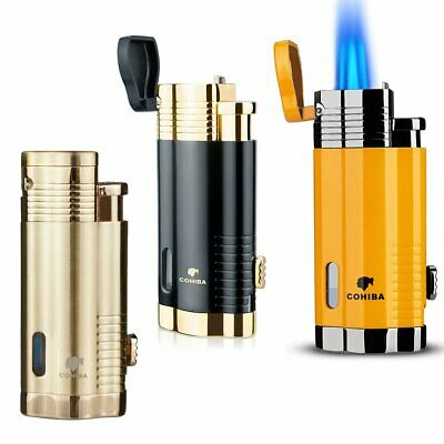 Cigar Lighter Triple 3 Jet Flame Torch Lighter With Cigar Punch Cutter Windproof • 14.99£