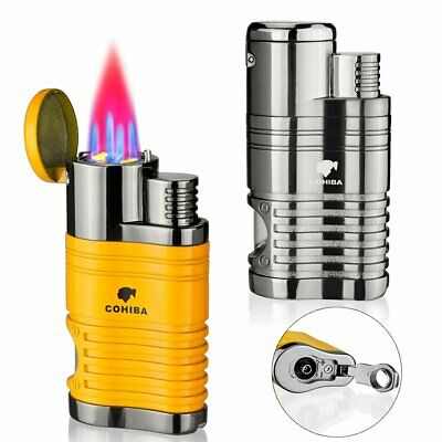 4 Jet Flame Torch Lighter Gas Butane Refillable Lighter With Cigar Punch Cutter • 14.99£