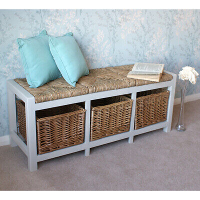 Gloucester 3 Seater Hall Bench With Wicker Seats & Shoe Storage In Stone White • 159£