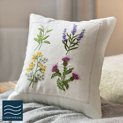 Luxury Country Cottage 12  Ivory Cream Lavender Floral Embroidered Cushion Cover • 4.95£