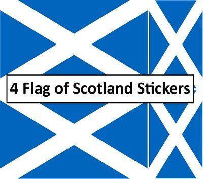 4 X SCOTTISH FLAG Stickers Saltire Scotland Vinyl Car Van Ipad Laptop Decals • 1.95£