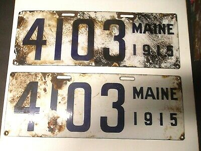 $ CDN201.12 • Buy Matching Pair Of Maine 1915 Porcelain License Plates