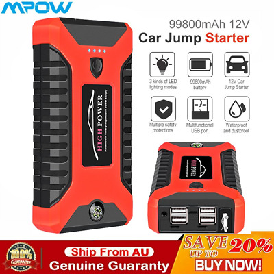AU81.89 • Buy 12V 99800mAh Vehicle Jump Starter 200A Car Battery Charger Booster Power Bank AU