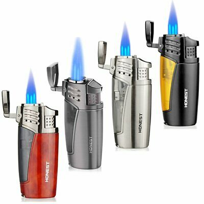 Jet Lighter Windproof 3 Flame Lighter Gas Butane Refillable Lighter Cigar Punch • 12.99£