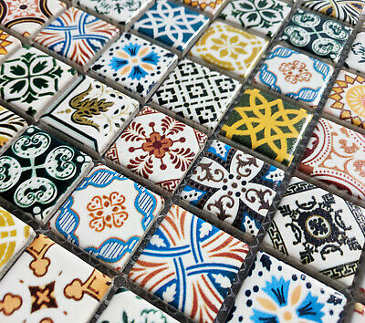 New Moroccan Multi Colour Ceramic Square Mosaic Wall Tiles 6mm Turkish Geometric • 9.98£