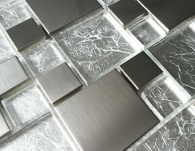 New Luxury Brushed Steel Metal & Light Foil Glass Silver Grey Mosaic Wall Tiles • 7.98£
