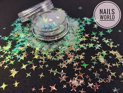 Nail Art STAR 8 Colours Holographic 3D Glitter SHAPE 2 4 5mm Shining Sequins  • 2.49£